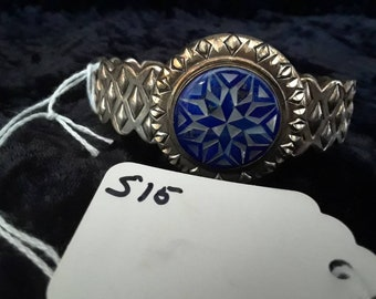 Lapis and mother of pearl inlay silver cuff bracelet