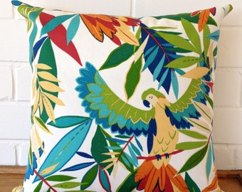 Tropical Parrot and Leaves Outdoor Cushion Cover in White