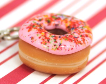 pink doughnut charm kawaii polymer clay charms miniature food jewelry polymer clay food charm pink donut charm doughnut necklace simpsons