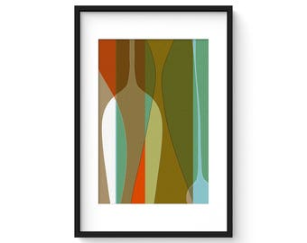 FREE FORM no.3 - Mid Century Modern Abstract Vessels Print