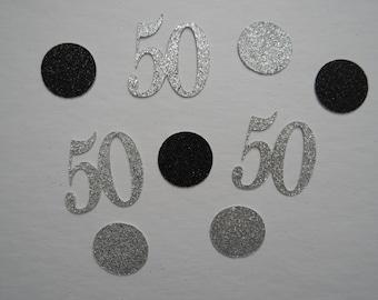 Glitter 50s and Dots Birthday Confetti | Custom Made | Birthday Party Confetti | 50th Birthday Party Décor
