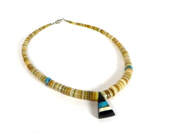Vintage Turquoise and Shell Necklace Southwest Jewelry 1970's Turquoise Shell and Black Onyx Pendant Necklace South Western Necklace