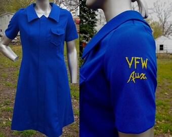 60s Dress, 60s Jacket, Vintage Dress, Blue Dress, Blue Suit, Short Sleeve Dress, VFW, Vintage Jacket, Saco Double Knit, Vintage Costume