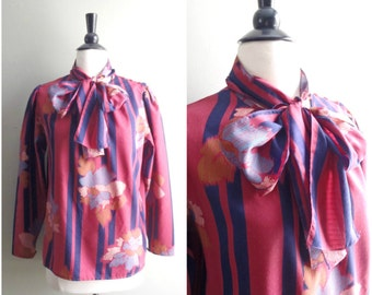 Vintage striped bow-neck blouse / maroon and navy blue floral retro shirt