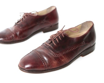mens size 11 OXFORD spectator red leather 80's BROGUE dress shoes made in ITALY