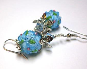 Aqua Lampwork Earrings, Aqua Flowers, Wedding Jewelry, Spiritcatdesigns , Antique Silver,FREE SHIPPING