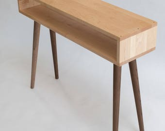 Petite Mid-Century Inspired Console Table, Entry Table, Sofa Table, Natural Color, MidCentury Reclaimed Table
