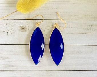 Marquis Chalcedony Earrings, Cobalt Blue Earrings, Natural Stone Drop Earrings, Blue Marquis Earrings, Women's Earrings, Gift for her