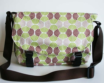 Messenger Bag - Cross Body Bag - Brown and Green Messenger, Lots of Pockets