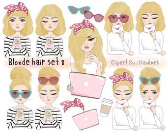 Blonde hair girl Clip art set 8 , instant download PNG file - 300 dpi