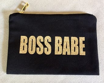 Boss Babe Cosmetic Bag ~ Black w/Gold Zipper and Gold Glitter Design