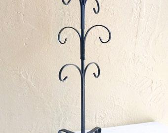 Curvy Vintage Black Metal Jewelry Hanger Cup Rack Hooks Stand 6