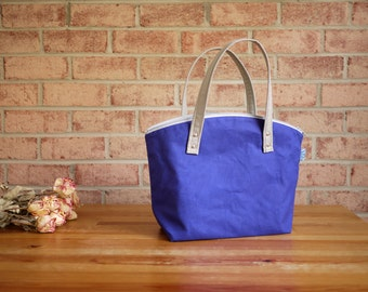 Water Repellent Canvas Zipper Tote in Royal Blue- Vegan Day Bag