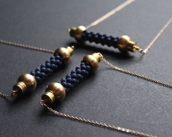 Nautical rope necklace horizontal bar necklace statement brass jewelry gold navy blue necklace victorian jewelry handmade -ElizabethNecklace