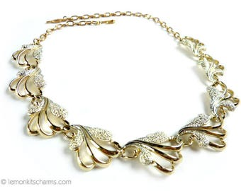 Vintage Sarah Coventry Frosted Feathers Necklace, Jewelry 1960s Mid-century, Gold Silver, Choker, Mixed Tone, Linked