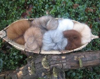 Alpaca Mini-Batt Set 7-Natural Colors Needle Felt Spin Blend Unique Variegated Textures Fiber Art Materials Long and Short Staple 1.2 oz.
