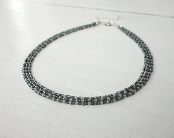 Multi stranded beaded choker grey seed beads layered choker necklace minimalist grey choker for women