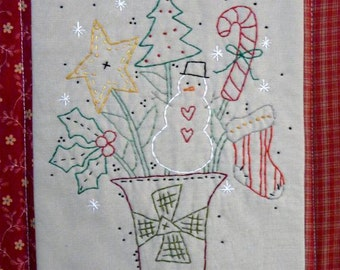 Christmas Bouquet embroidery Pattern PDF - primitive hand snowman holly stocking tree star