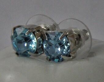 Rhinestone Earrings Light Aqua Crystal  and Silver