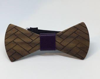 Walnut Bow tie with Herringbone design - wood bowtie -wooden bowtie -wedding - wedding accessories -5th Anniversary- menswear- gifts for him