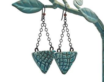 Textural Raku Porcelain Earrings Sky Blue Teal Turquoise Artisan Pottery with Matte Black Brass Chain and Niobium Earwires Boho Rustic OOAK