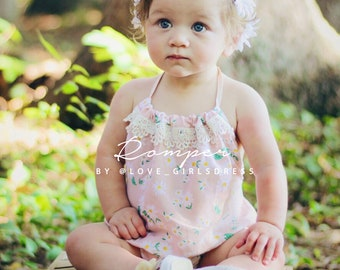 Ready to Ship-Summer baby toddler daisy romper, baby summer romper, kids romper, daisy romper