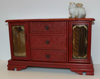 Vintage Large Jewelry Box, Painted Jewelry Box, Red Jewelry Box, Wood Jewelry Box, Gift for Her