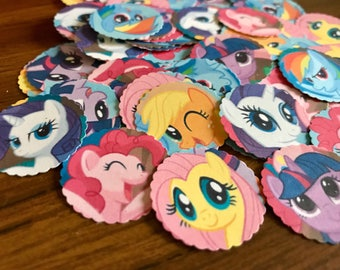 My Little Pony Confetti - Pinkie Pie Rainbow Dash - 100 Pieces 1 Inch Round - Birthday Confetti -  Cupcake Toppers