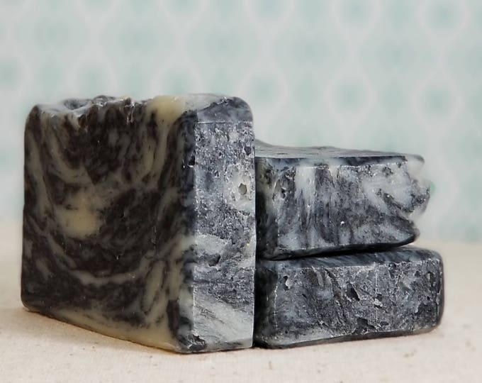 The Last Midnight Lavender Tea Tree Activated Charcoal Facial Soap -- All Natural, Handmade, Vegan, Barely-Scented Soap, Free Shipping