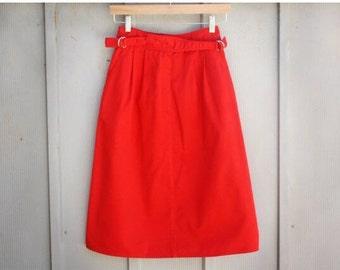 Vintage Nautical Skirt - 90s Grunge Skirt - 80s A Line Skirt - Red Sailor Skirt - Retro Mod Skirt - Pin Up Skirt - Rockabilly Skirt - Midi