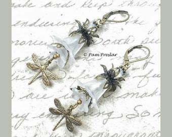Make Your Own Earrings Kit, Woodland Wedding Dragonfly Earring Kit, Bridal Jewelry, Vintage Flower Design, Do It Yourself Jewelry, #002
