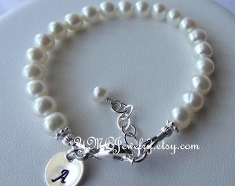 Child Pearl Bracelet, Freshwater Pearl Baby Child Bracelet, Stamped Pearl Bracelet, Flower Girl Bracelet, Junior Bridesmaid Bracelet