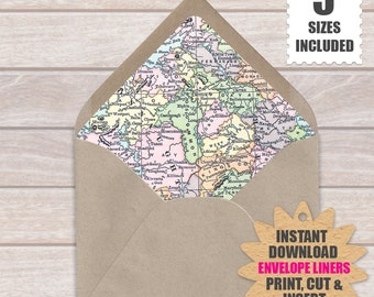 Map Of Ireland DIY European ENVELOPE LINERS  | Vintage Ireland Map Printable Make Your Own Envelope Liners Template.