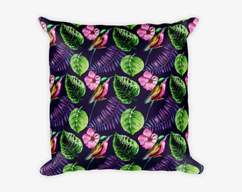 Bird Leaf Pattern Tropical Pillow Case