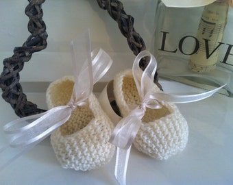 Cream knitted ballet shoes, ivory organza ribbon