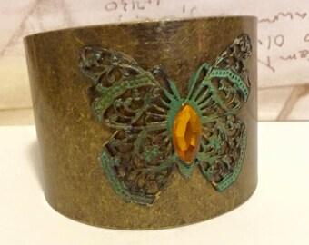 Filigree Patina Butterfly Antiqued Brass Cuff  Amber Marque Rhinestone