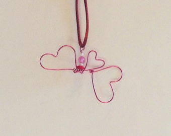 Wire and Beads Triple Heart Pendant on Satin Cord