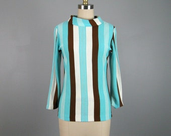Vintage 1960s Mod Striped Knit Blouse 60s Blue Brown and White Stripe Top by Koret Size M