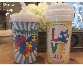 Personalized autism awareness kids sippy cups autism sippy cups austism toddler cups autism kids cups kids autism cups