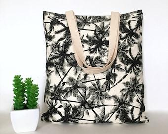Canvas Tote Bag, Minimalist Canvas Tote Bag, School Tote Bag, Tote bag for Teachers, Casual Tote bags, Canvas Bag, Beach tote - Coconut Tree