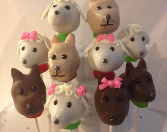 12 PUPPY and DOGGIE cake pops, dog lovers, vet office gifts, puppies, animal lovers