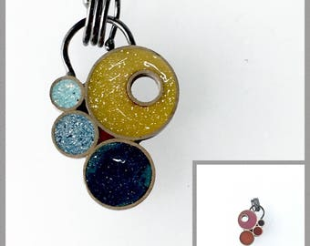Small Versatile Cluster Pendant Silver and Opaque Resin Double Sided Reversible Colorful Bright Fun
