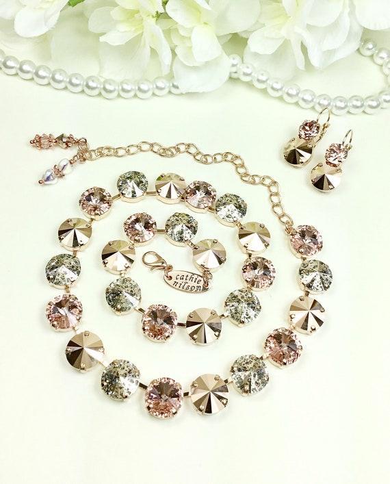 "Swarovski Crystal 12MM ""Millennium Pink"" & Rose Gold Bridal Set - Vintage Rose, Rose Patina, Rose Gold - Designer Inspired -FREE SHIPPING"