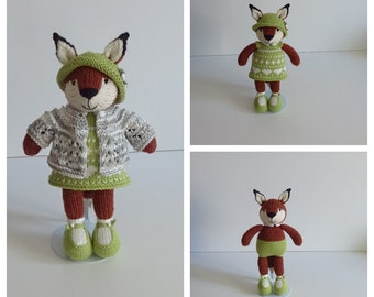Hand Knitted Little Fox in Green