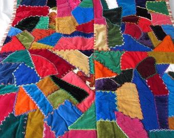 """vintage velvet patchwork crazy quilt,  small size lap quilt, 38"""" square"""