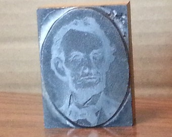 Vintage, printing block of President Abraham Lincoln face, 1970-1980