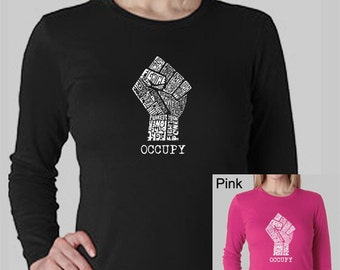 Women's Long Sleeve T-Shirt - Occupy Wall Streer - Created using the words Fight The Power