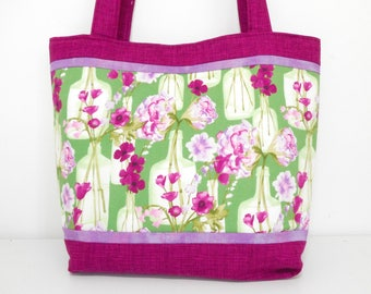 Large Purple Tote Bag, Large Floral Tote Bag with Pockets