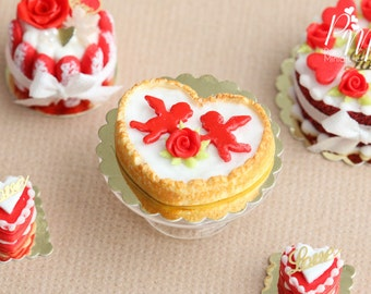 MTO-Heart Shaped Cream Tart with Red Rose and Cupids - Miniature Food in 12th Scale for Dollhouse