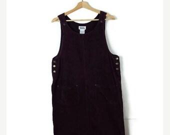 ON SALE Vintage Dark Purple Corduroy Sleeveless Long Dress/Jumper from 1990's